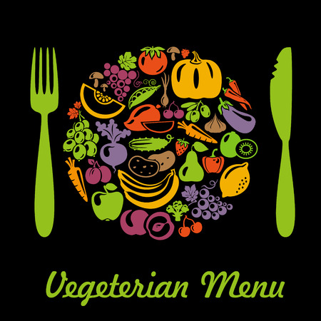 Plate shape with vegetarian menu. Vegetables and fruits. Plate, fork, knife