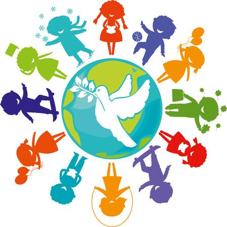paz: Crianças bonitos silhuetas ao redor do mundo com pombo. Símbolo da paz. Terra do planeta com silhuetas crianças coloridas. Ilustração