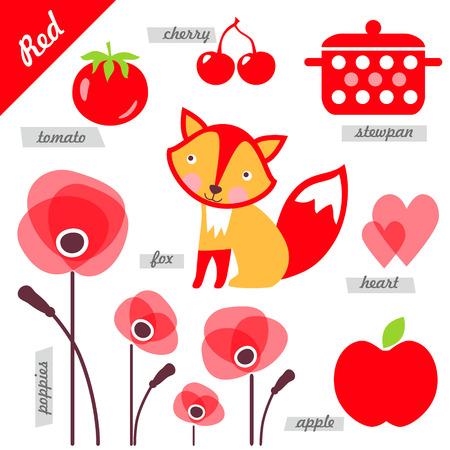 poppy: conjunto de imágenes como ejemplos de rojo, para los niños, con fines educativos, ilustraciones, página Vectores