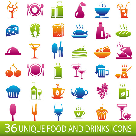 coffee icon: Set of 36 food and drinks icons.