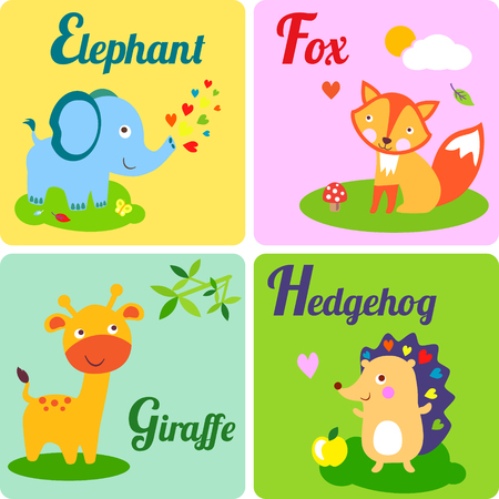 Cute zoo alphabet in vector. E, f, g h letters. Funny animals for ABC book. Elephant, fox, giraffe and hedgehog Illusztráció
