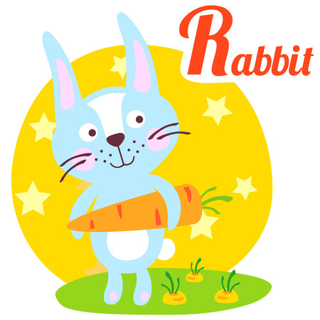 wild animal: Cute animal alphabet for ABC book. Vector illustration of cartoon rabbit. R letter for the Rabbit. Wild animal. Cartoon rabbit, hare, bunny with carrot.