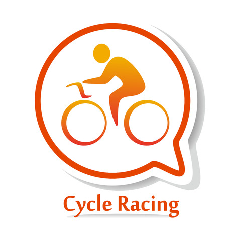road bike: Vector icon with Bicycle race silhouette. Cycle race. Cycle racing Illustration