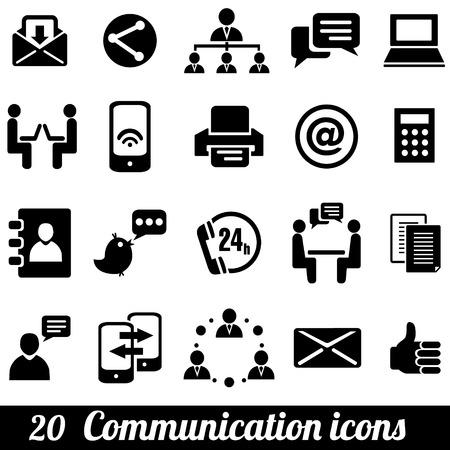 Conjunto de 20 iconos de la comunicación. Ilustración vectorial