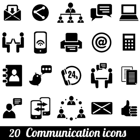 Set of 20 communication icons. Vector illustration Çizim