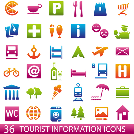 tourist guide: Set of 36 icons for tourist map. Tourist information icons. Guide Illustration