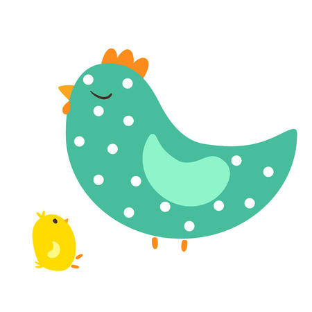 Vector illustration of cute hen and small chicken, baby chicken and mother hen Illustration