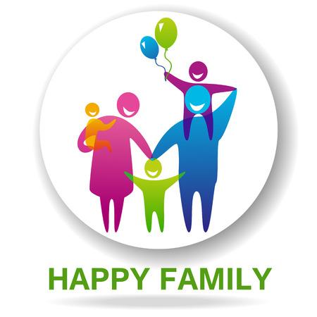 Gelukkige familie pictogram veelkleurige in eenvoudige figuren. Drie kinderen, vader en moeder staan samen. Vector kan worden gebruikt als logo Stock Illustratie