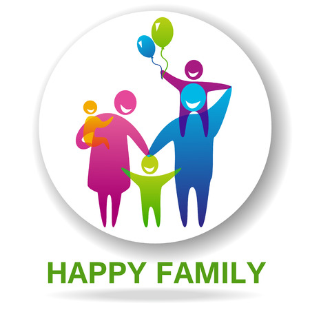 Icono de la familia feliz multicolor en figuras simples. Tres hijos, el padre y la madre están juntos. Vector puede ser utilizado como logotipo Foto de archivo - 46373289