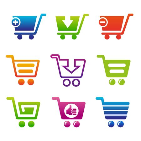 webshop: Set of shopping carts. Set of icons for webshop.