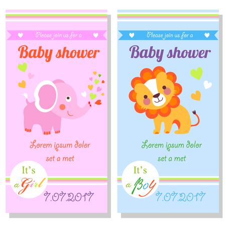 귀여운 사자와 코끼리와 베이비 샤워 카드. 그것은 여자의 그리고 그것은 소년 일러스트