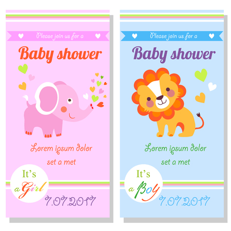 Baby shower cards with cute lion and elephant. It's a girl and it's a boy Vectores