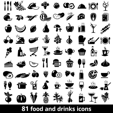 fruits vegetables: Set of food and drinks icons. Vector illustration.