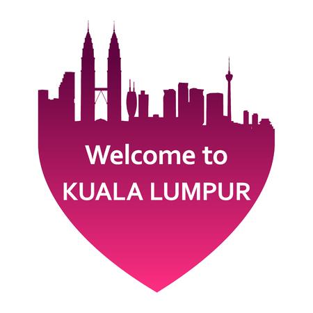 travel destination: Vector illustration of Kuala Lumpur skyline in heart shape. Welcome to Kuala Lumpur Illustration