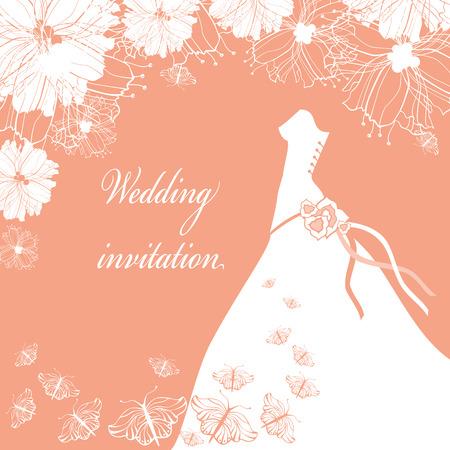 detail invitation: Wedding Dress. Wedding invitation card. Illustration