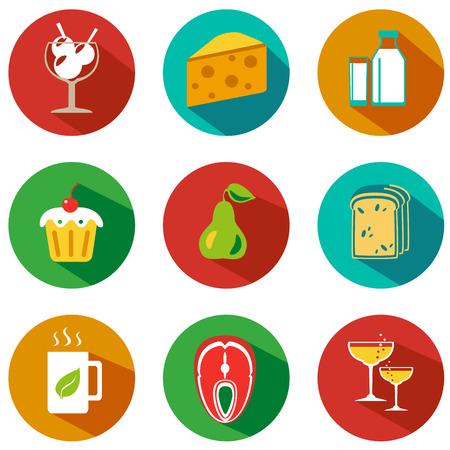 alimentos y bebidas: Conjunto de iconos de alimentos y bebidas. Ilustración del vector. estilo inconformista