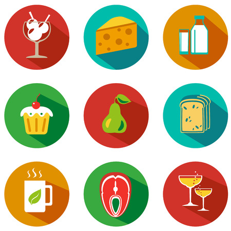 food and drinks: Set of food and drinks icons. Vector illustration. Hipster style