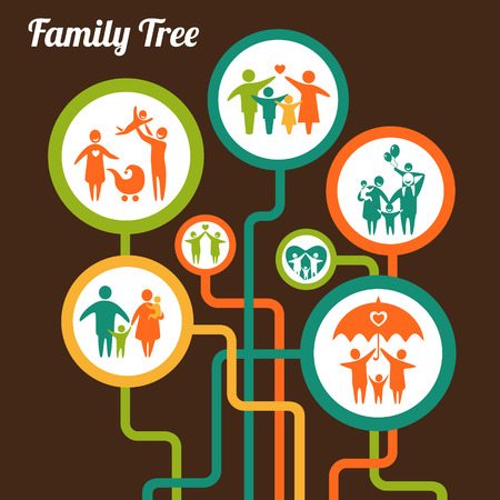 Vector illustration of the family tree 일러스트