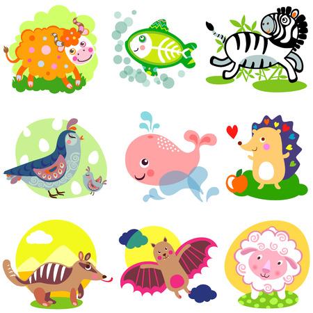 vampire bat: Vector illustration of cute animals: Yak, x-ray fish, zebra, quail, whale, hedgehog, numbat, anteater, vampire bat, sheep.