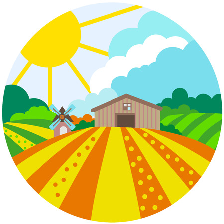 Concept icon for organic food, drink, farm products, Agriculture fields, Farm, vector illustration Vectores