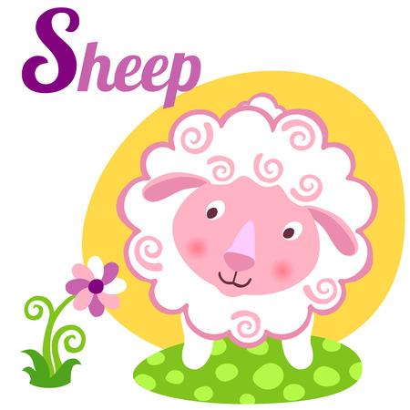 alfabeto con animales: alfabeto animal linda por un libro del abecedario. Ilustración vectorial de ovejas de dibujos animados. letra S por las ovejas