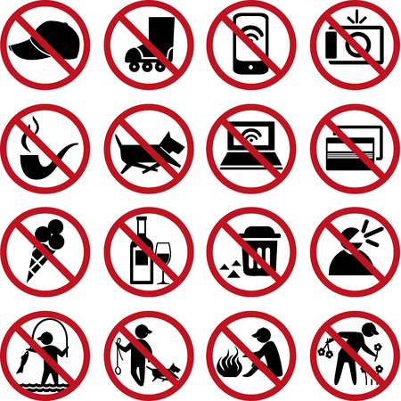 phone ban: Set of prohibited signs. Illustration