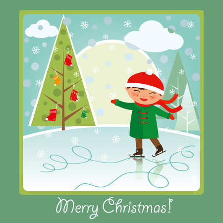 ice rink: Merry Christmas card: cute boy skating on the rink, smiling and having fun.