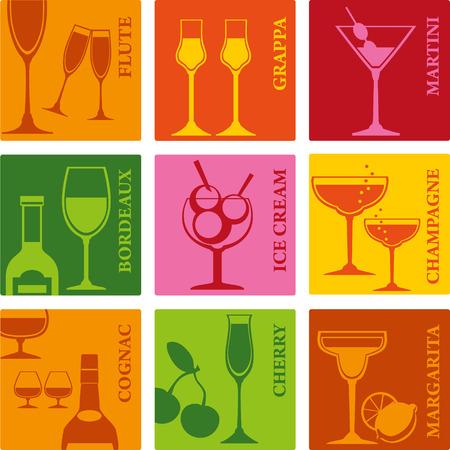 helados con palito: Vasos establecidos para las bebidas alcohólicas, cócteles y helados. Vectores