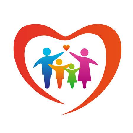 幸せな家族概念: 父、母、娘と息子を一緒に。