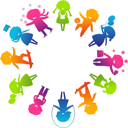 happy kids jumping: Children's Day concept. Cute children silhouettes around the World.