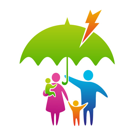 bad weather: Happy and loving family with children under umbrella, protection from lightning and bad weather, family care