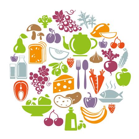 comida: Ilustra��o do vetor do conceito de comida saud�vel. Forma de c�rculo com �cones org�nicos alimentares: legumes, frutas, peixe, ch�, caf�, queijo, azeite, produtos l�cteos Ilustração