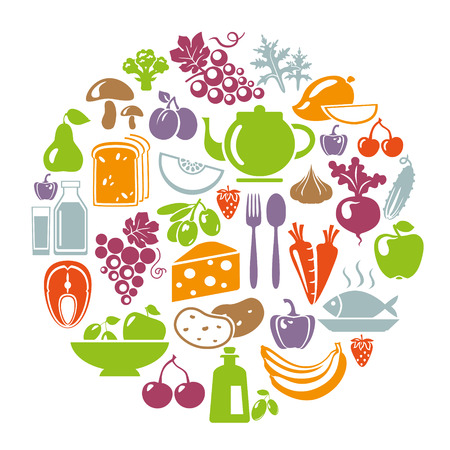 merchandise: Vector illustration of healthy food concept. Circle shape with organic food icons: vegetables, fruits, fish, tea, coffee, cheese, olive oil, dairy