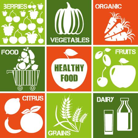 agricultura: Conjunto de iconos - alimentos orgánicos y healhty. Logos establecen para el mercado orgánico.