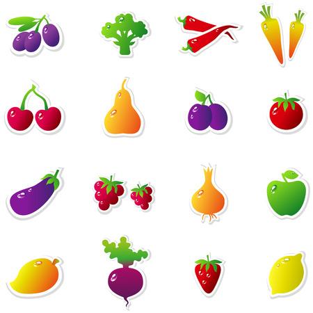 ciruela: Conjunto de frutas y verduras: aceitunas, brócoli, chile, zanahorias, cerezas, fresas, peras, ciruelas, tomates, berenjenas, las frambuesas, cebolla, manzana, mango, remolachas, fresas, limón. ilustración vectorial