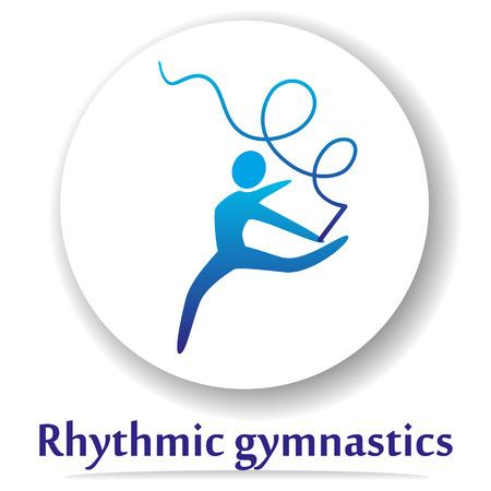 Vector icon with rhythmic gymnastics silhouette. Illustration