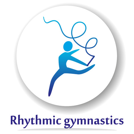 individual color: Vector icon with rhythmic gymnastics silhouette. Illustration