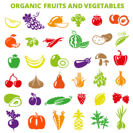Set of fruits and vegetables: banana, apple, lemon, pear, cherry, pineapple, eggplant, corn, avocado, cucumber, plum, strawberry, beets, radish, garlic, carrots, pumpkin. 向量圖像