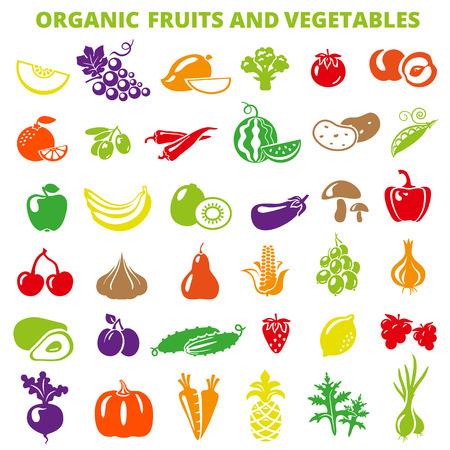 Set van groenten en fruit: banaan, appel, citroen, peren, kersen, ananas, aubergine, maïs, avocado, komkommer, pruim, aardbei, bieten, radijs, knoflook, wortelen, pompoen. Stock Illustratie