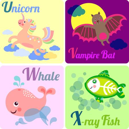 vampire bat: Cute zoo alphabet in vector. U, V, W, X letters. Funny animals for ABC book. Unicorn, Vampire Bat, Whale, X-ray Fish.