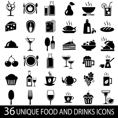 Ensemble de 36 nourriture et de boisson icônes. Vector illustration