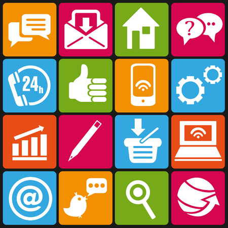 Set of 16 IT and web icons Illustration