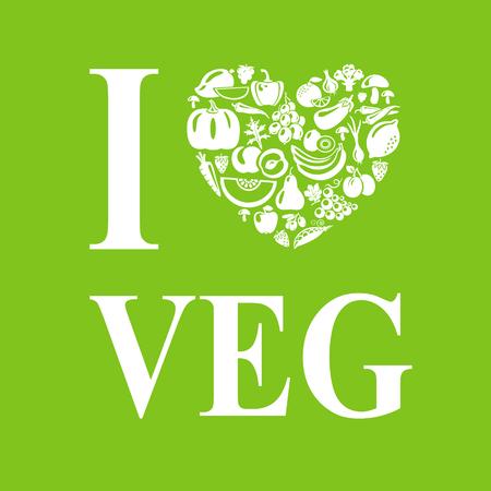 I love 야채, vegeterian. 채식 음식 심장 모양입니다.