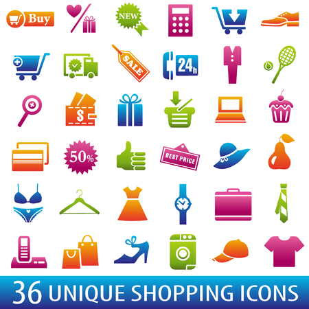 add to shopping cart icon: Set of 36 shopping icons. Vector illustration