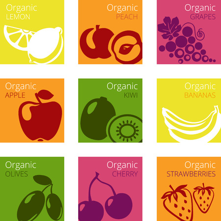 Vector illustration of Organic fruits labels Vectores