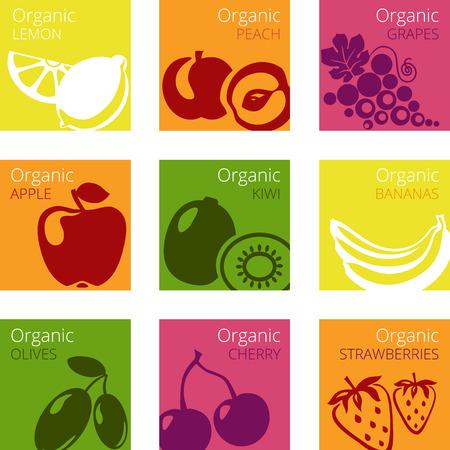 jugo de frutas: Ilustración vectorial de frutas orgánicas etiquetas