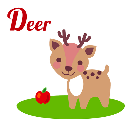 flower alphabet: Cute animal alphabet. D letter. Cute cartoon Deer. Alphabet design in a colorful style. Illustration