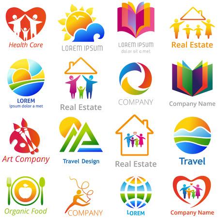 viaje familia: Conjunto de conceptos company name. Ilustración del vector de símbolos de negocios abstractos.