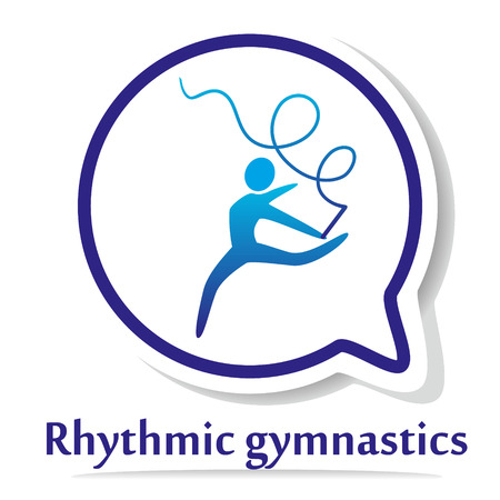 fit body: Vector icon with rhythmic gymnastics silhouette. Illustration