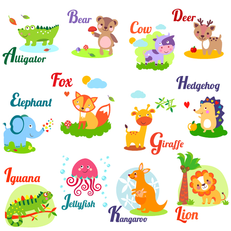 Cute animal alphabet for ABC book. Vector illustration of cartoon animals. A,b, c, d, e, f, g, h, i, j, k, l